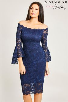 Jessica Wright Flare Sleeves Lace Midi Dress