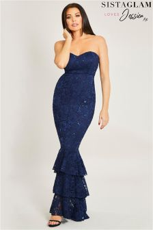 Jessica Wright Sequin Frill Hem Maxi Dress