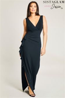 Sistaglam Loves Jessica Side Frill Maxi Dress