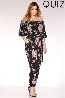 Quiz Curve Floral Print Bardot Jumpsuit