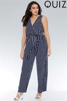 Quiz Curve Stripe Cross Over Front Palazzo Jumpsuit
