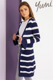 Yumi Striped Pointelle Long Cardigan