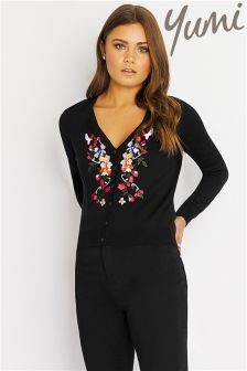 Yumi Cardigan With Floral Embroidery