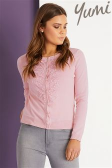 Yumi Lace Placket Cardigan
