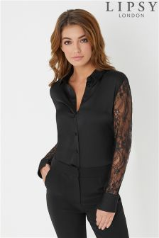 Lipsy Lace Sleeve Satin Shirt