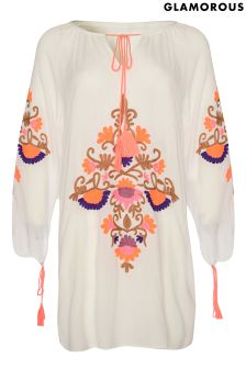 Glamorous Curve Smock Embroidered Dress