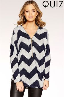 Quiz Zig Zag Long Sleeve Top