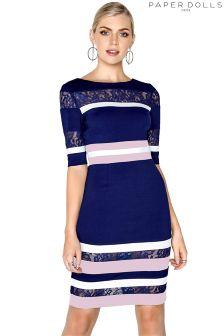 Paper Dolls Colour Block Lace Insert Dress