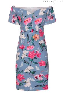Paper Dolls Pretty Floral Fluted Bardot Bodycon Dress