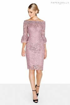 Paper Dolls Lace Flute Sleeve Bardot Dress