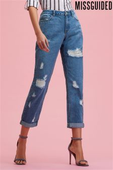 Missguided Mid Rise Ripped Boyfriend Jeans