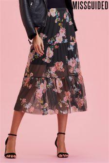Missguided Floral Mesh Frill Hem Midi Skirt