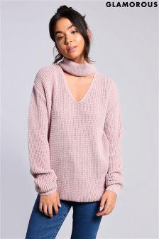 Glamorous Knitted Choker Jumper