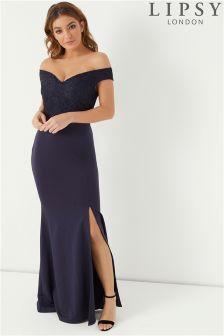 Lipsy Lace Top Bardot Maxi Dress