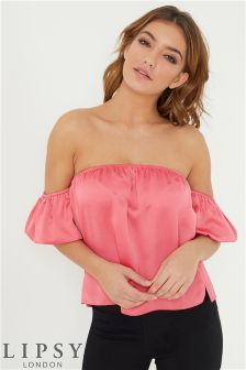 Lipsy Puff Sleeve Satin Bardot Top