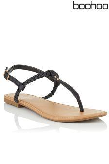 Boohoo Pleated T Bar Sandals