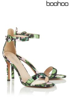Boohoo Floral Print Barely There Heels