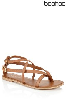 Boohoo Leather Cross Strap Sandals