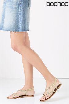 Boohoo Leather Flat Sandals