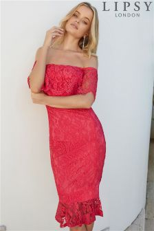 Lipsy Petite All Over Lace Bardot Dress