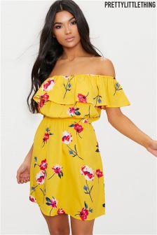 PrettyLittleThing Floral Bardot Dress
