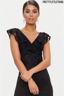 PrettyLittleThing Lace Frill Body Top