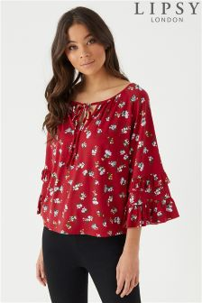 Lipsy Floral Ruffle Keyhole Top