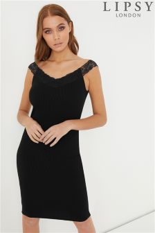 Lipsy Lace Trim Rib Bodycon Dress
