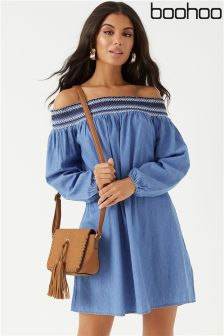 Boohoo Bardot Denim Dress