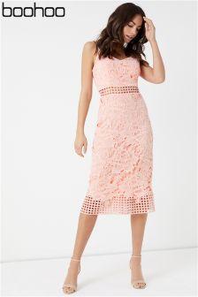 Boohoo Strappy Lace Midi Dress