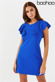 Boohoo Ruffle Shoulder Skater Dress