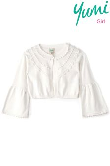 Yumi Girl Lace Trim Bolero Cardigan With Bell Cuff