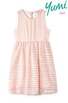 Yumi Girl Pin Tuck Rose Prom Dress