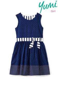 Yumi Girl Polka Dot Border Print Dress