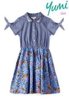 Yumi Girl Chambray French Floral Shirt Dress