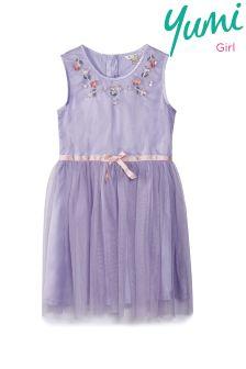 Yumi Girl Spring Embellished Neck Dress