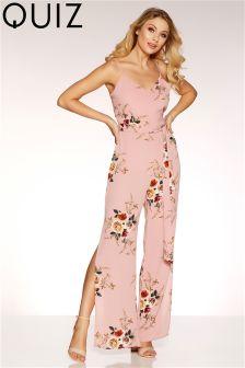 Quiz Floral Print Tie Belt Jumpsuit