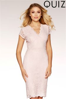 Quiz Glitter Lace Cap Sleeve Midi Dress