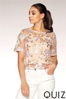 Quiz Floral Embellished Short Sleeve Overlay Top