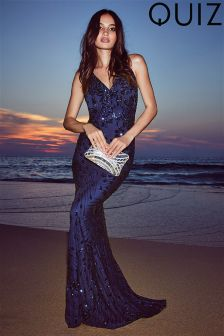Quiz Sequin Cross Back Fishtail Maxi Dress