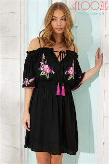 Floozie Off Shoulder Embroidered Dress