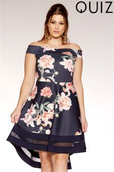 Quiz Curve Floral Bardot Mesh Dip Hem Shift Dress