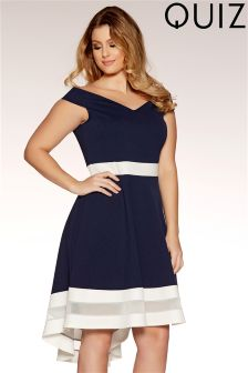 Quiz Curve Bardot Mesh Dip Hem Dress