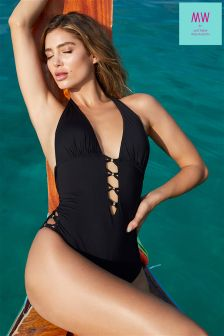 MW By Mathew Williamson Beaded Plunge Suit