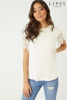 Lipsy Lace Trim T-Shirt