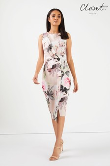 Closet Draped Sleeveless Wrap Floral Dress