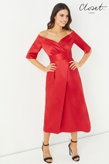 Closet Pleated Bardot Dress