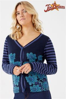 Joe Browns Striped Sleeve Floral Print Cardigan