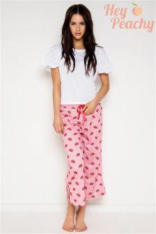 Hey Peachy Flare Sleeve Tee And Long Pyjama Set
