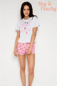 Hey Peachy Amore More Frill Edge Short Pyjama Set